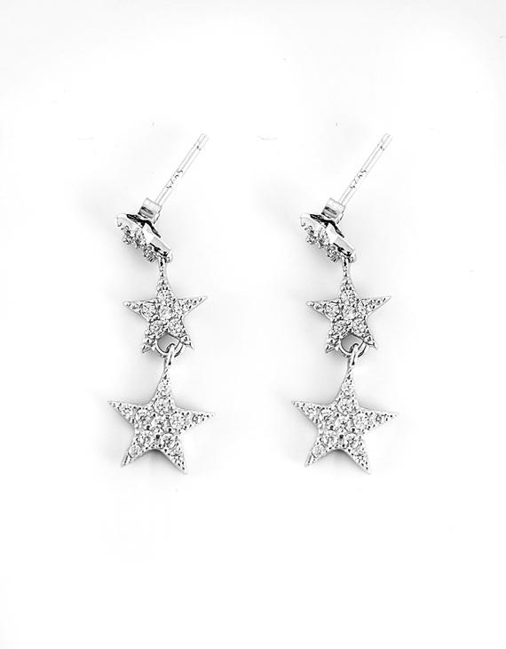 S925银微镶锆石星星耳坠