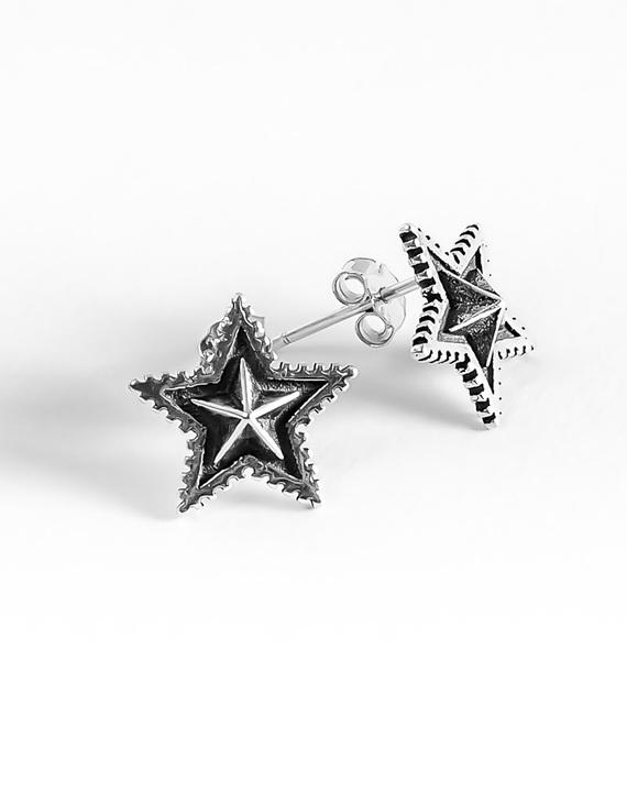 S925银个性星星复古耳钉