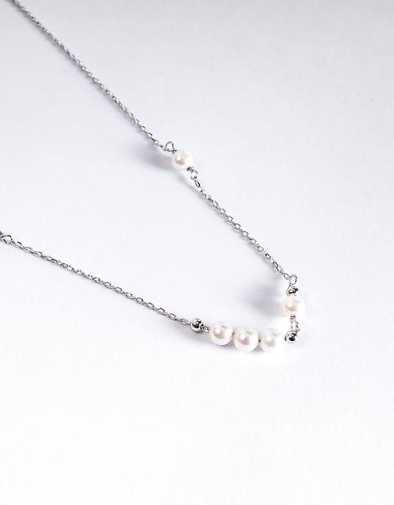 S925银气质贝珠锁骨项链