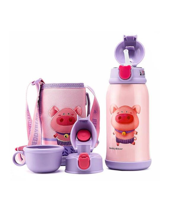 【猪年新款】BEDDYBEAR/杯具熊 幼儿园带吸管宝宝三盖保温水壶 十二生肖猪 630ML