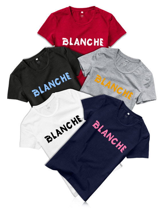 【69任选两件 】清仓 纯棉女款BLANCHE标语T恤(不退换)满138减69 白色   灰色   深蓝色   黑色   红色 拍两件