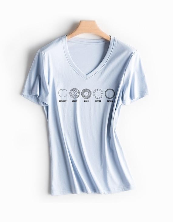 行星的舞蹈高品质70支丝光棉T恤女款V领