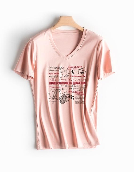 量子力学高品质70支丝光棉T恤女款V领