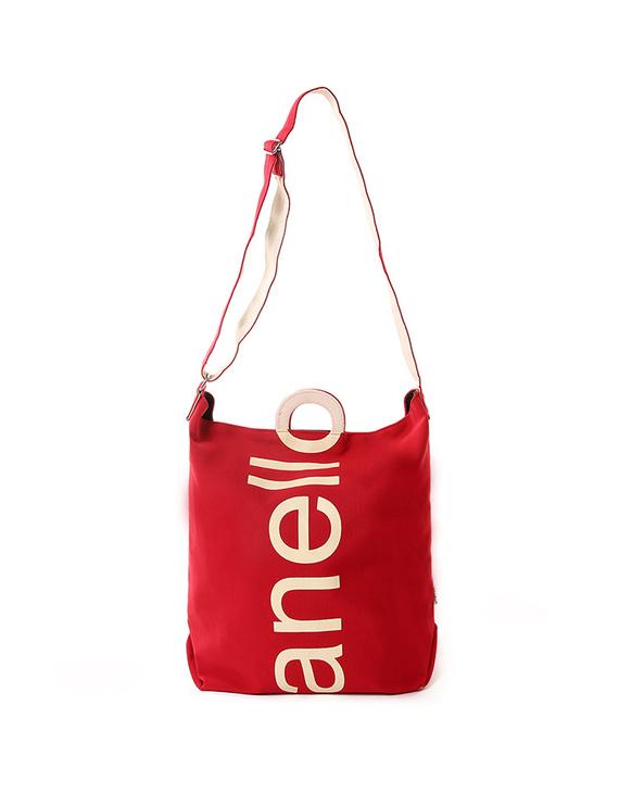 日本anello潮流大logo棉质帆布两用手提包单肩包S0061红布白字