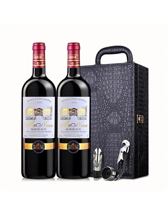法国波尔多原瓶进口 梦诺 佰得干红葡萄酒750ml*2赠皮箱