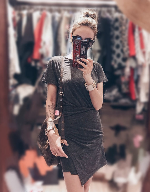 假两件裹裙连衣裙【不退换】