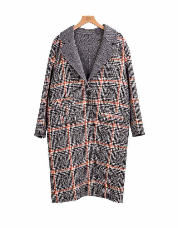 【两色可选】纯羊毛长款格子大衣(只换不退)