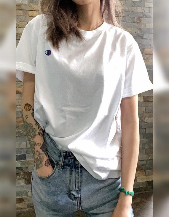 【多色可选】Champion 男女同款小C纯棉刺绣T恤(不退换)(新疆西藏不发货)